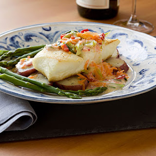 Halibut in a Buttery Vegetable Sauce.