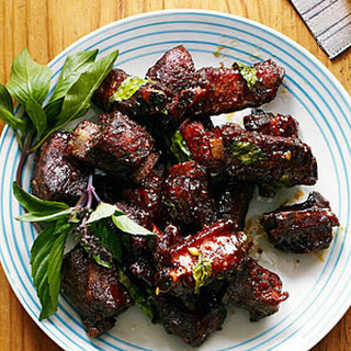 Chinese Glazed Riblets with Garlic and Thai Basil.
