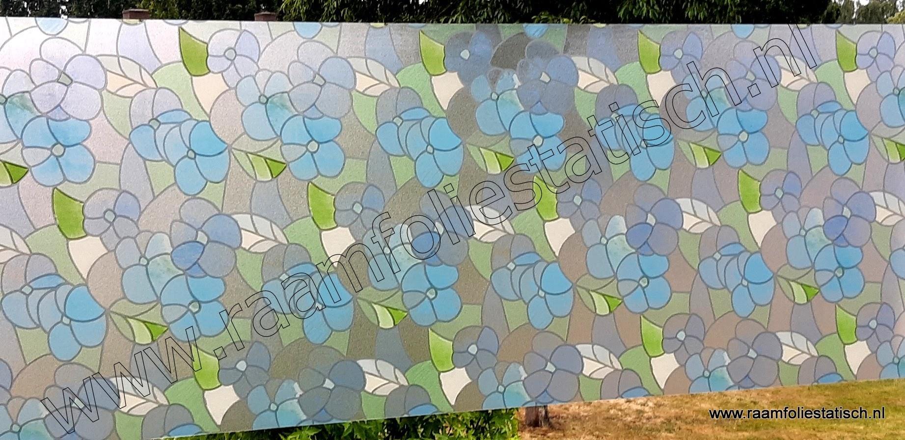 Raamfolie statisch bloemenprint blauw 90cmx1,5m