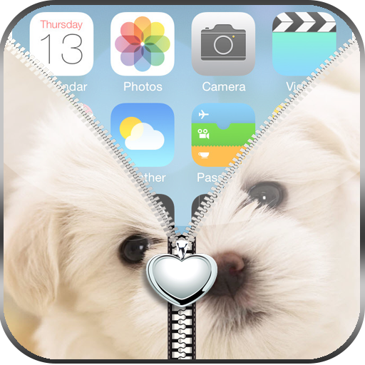 Love Puppy Zipper Lock Screen