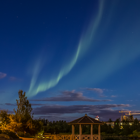 Paintjobs from the gods  by Kristvin Guðmundsson - City,  Street & Park  Night ( iceland, night photography, visit iceland, aurora, long exposure, kopavogur, pond )