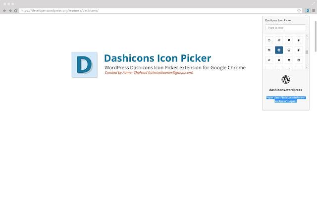 Dashicons Icon Picker