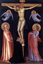 Photo: Title: Crucifixion Artist: Andrea da Firenze Medium: Tempera on wood Size: 33 x 22 cm Date: 1377 Location: Pinacoteca, Vatican http://iconsandimagery.blogspot.com/2009/07/crucifixion.html