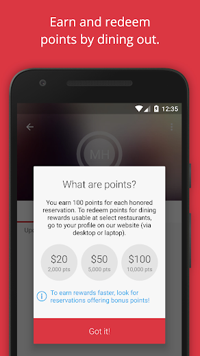 Screenshot 5 for OpenTable's Android app'