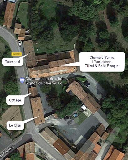 Vue aérienne des hébergements du Clos de la Garenne