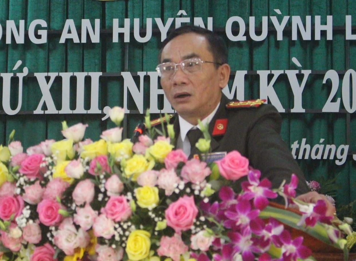 Đại tá Lê Xuân Hoài, Phó Giám đốc Công an tỉnh phát biểu chỉ đạo tại hội nghị