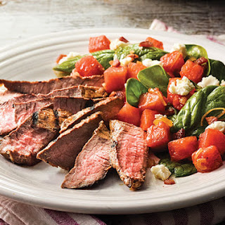 Tangy Citrus Steaks with Warm Watermelon and Bacon Salad