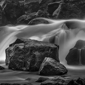 ... by Ruslan Stepanov - Black & White Abstract ( abstract, water, iceland, black and white, waterfall, long exposure, rocks )