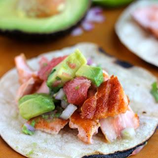 Glazed Salmon Tacos with Grapefruit Avocado Salsa
