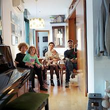 Photo: title: Ben + Charlotte Gordon, Laura Mayoral, Cloe + Ariane Mayoral Gordon, Barcelona, Spain date: 2015 relationship: friends, art, met at Hampshire College years known: Ben, 25-30; Laura 0-5