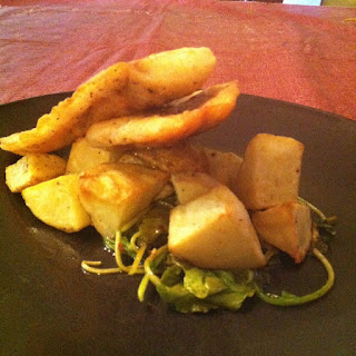 Pan Fried Large Mouth Bass, Roasted Potatoes with Wilted Arugula.