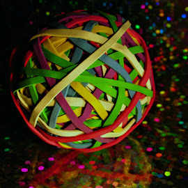 ELASTIC BAND BALL by Karen Tucker - Artistic Objects Other Objects ( sparkle, multicoloured, sparkles, multicolored, shining, glitter, shiny, multi colour, elastic bands, sparkling,  )