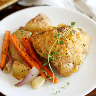 One-Pan Crispy Chicken Thighs with Roasted Vegetables.