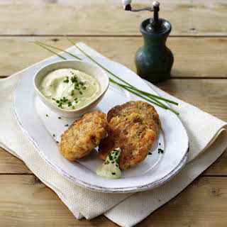 Fish and Shrimp Cakes with Mustard Chive Dip.