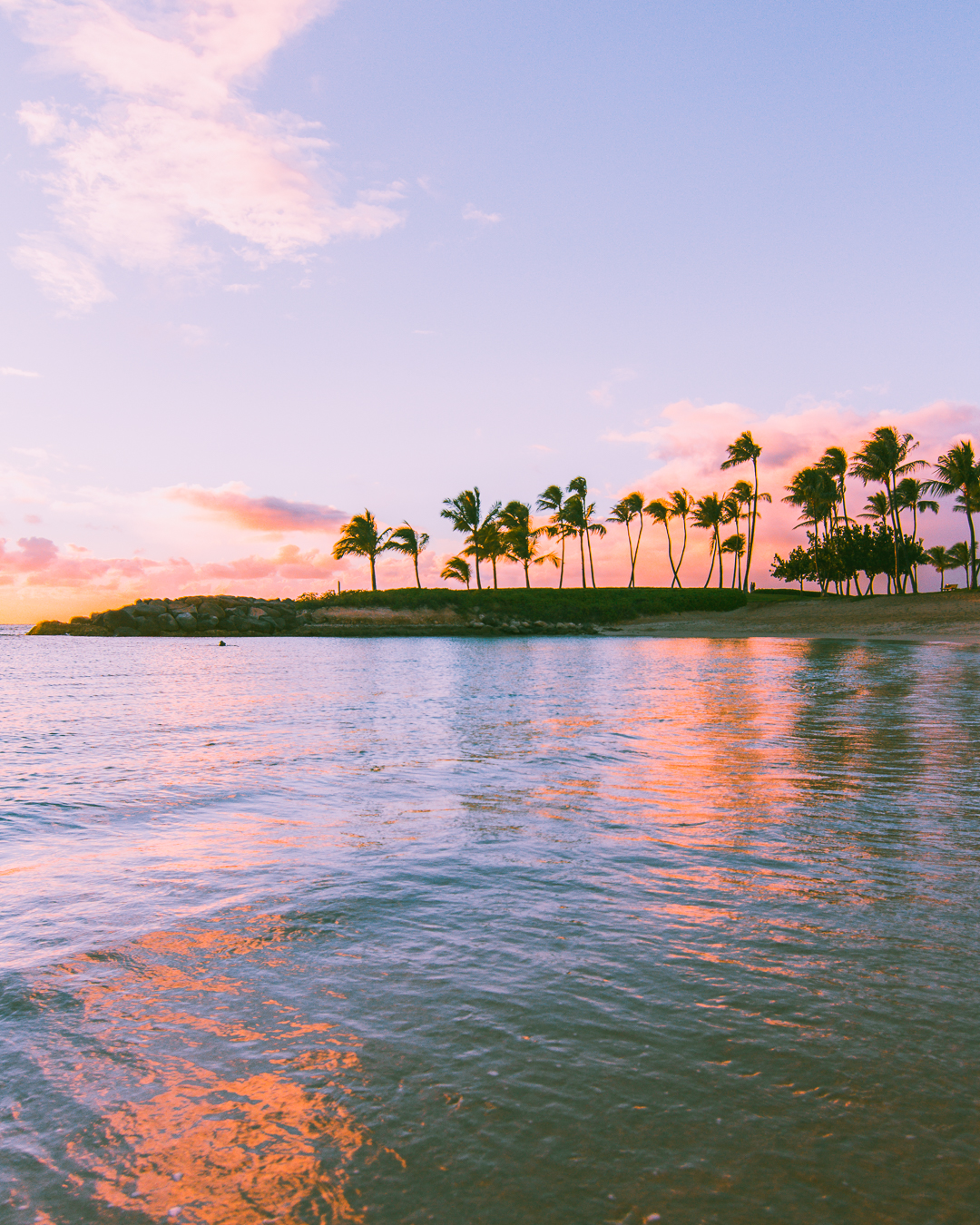 The Beautiful Ko'Olina Resort Lagoon during sunset - 15 Best Beaches on Oahu