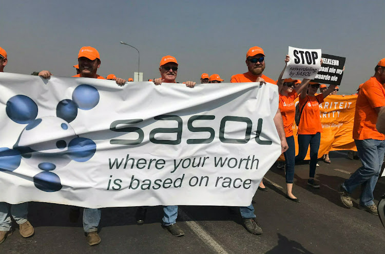 Sasol workers in Secunda, Mpumalanga, affiliated to Solidarity demonstrate their disapproval of a share scheme offered exclusively to black staff at petrochemicals firm Sasol.