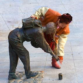 Human v Bronze. by Xiufen Gu - City,  Street & Park  Street Scenes ( bronze, dalian, street, china,  )