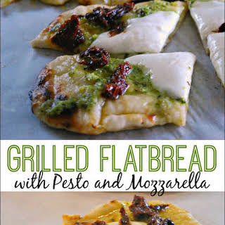 Grilled Flatbread with Pesto and Mozzarella.