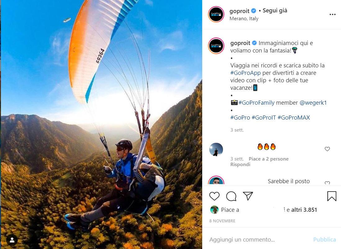 Post Instagram creato con una fotografia scattata da un utente con il prodotto GoPro. Un esempio di User Generated Content