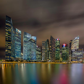 The City of Colours by Binoy Uthup - City,  Street & Park  Skylines ( city scene, night lights, night scene, nightview, cityscape, nightshoot, singapore, city, nightscape, night shots, night view, city view, night photography, city lights, nightography, night, night sky, night shot, singapore cbd, city skyline )