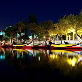 Moliceiros by Fernando Cordeiro - City,  Street & Park  Vistas ( water, lights, colors, boats, night )