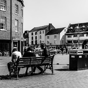 Time for lunch by Carol Henson - Black & White Street & Candid ( banbury, bench, seat, castle quay, eos m, people, market place, street photography )