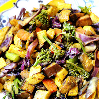 Curry Baked Veggies with Eggplants, Purple Cabbage and Yellow Squash.