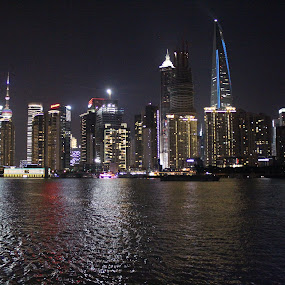 shanghai bund by Timmothy Tjandra - City,  Street & Park  Night ( pwcstars-dq, pwcreflections, night, nightscapes, shanghai,  )