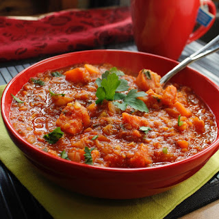 Hearty Red Lentil and Sweet Potato Instant Pot Soup.