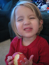 Photo: Emmy, munching on an apple found in her stocking