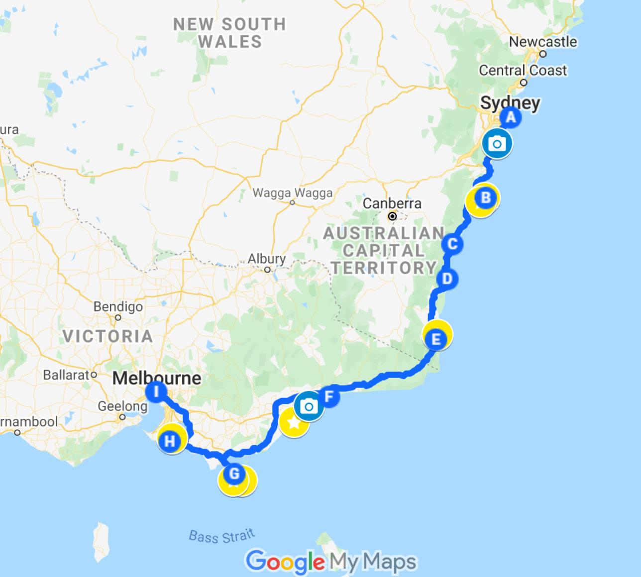 australia sydney to melbourne road trip itinerary google maps