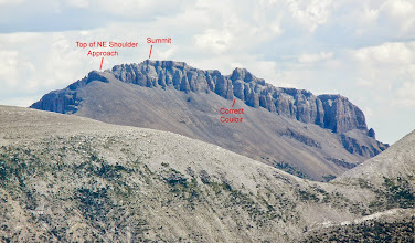 """Photo: We came up on the other side, crossed over at """"Top of NE Shoulder Approach"""" and then followed a trail to the """"Correct Couloir""""."""