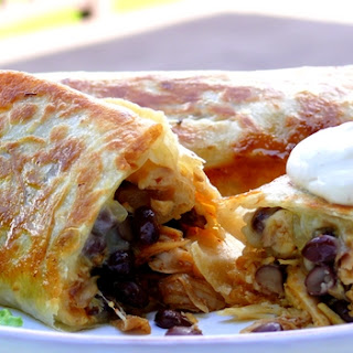 Cheesy Chicken and Black Bean Burritos.