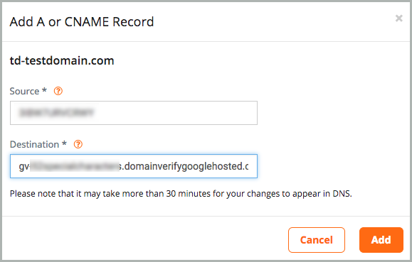 Add A or CNAME Record dialog box.