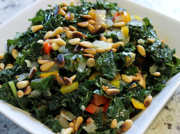 Tuscany Kale With Bell Peppers & Toasted Pine Nuts Recipe