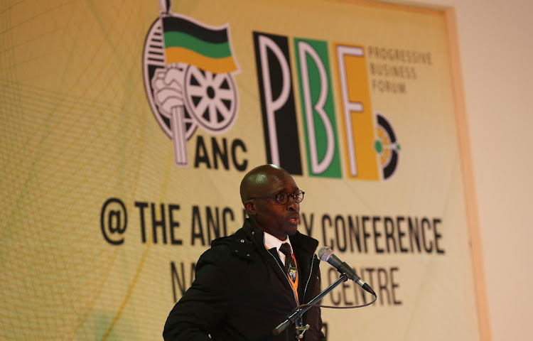 Finance Minister Malusi Gigaba addresses the Progressive Business Forum before the start of the ANC Policy conference taking place at Nasrec.
