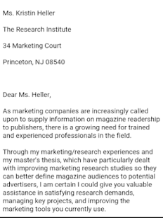 google sample cover letters
