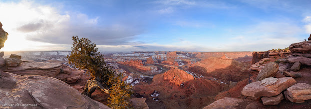 Photo: Dead Horse Point sunrise panorama: Sunrise at DHP looking towards the Colorado river gooseneck. This was a morning where everybody stayed in because the forecast called for overcast skies and snow. I headed out on a whim that dramatic circumstances might arise and they did! Bigger and prints: http://smu.gs/15E6hEm