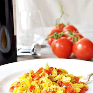 Summer Squash Pasta with Garlic and Tomatoes.