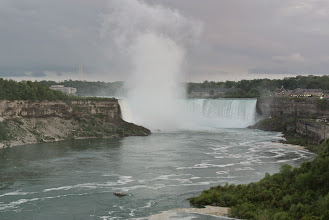 Photo: After checking in, we ran back to the falls to see the sunset and realized we were on the wrong side!
