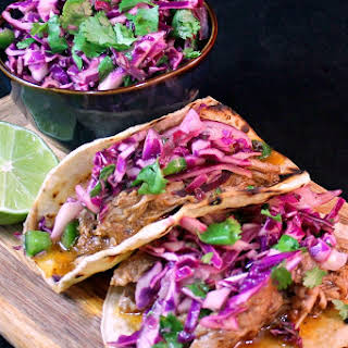 Pulled Pork Tacos with Jalapeno Slaw.
