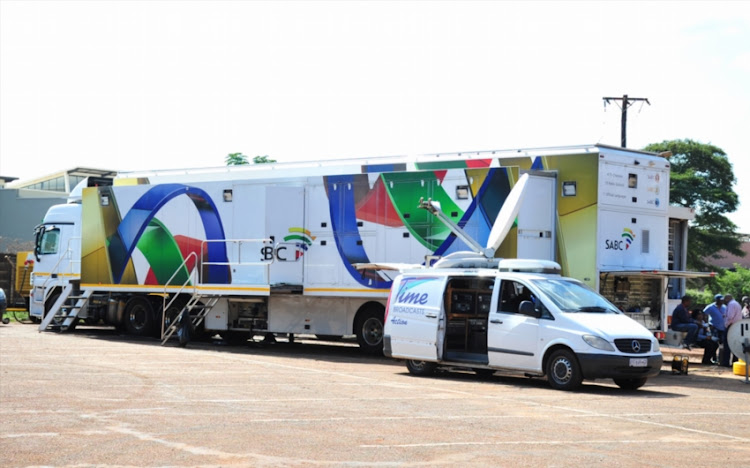 SABC broadcasting truck before the National First Division, Promotion and Relegation Playoff match between Black Leopards and Platinum Stars at Thohoyandou Stadium on May 16, 2018 in Thohoyandou, South Africa.