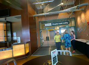 Photo: Elizabeth Kuhn, Michele Roy, and Maddy Knase greet agents at the door. #throughglass