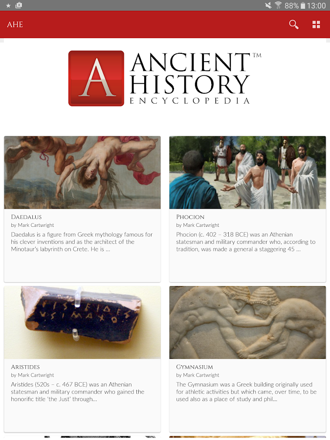 Ancient History Encyclopedia- screenshot