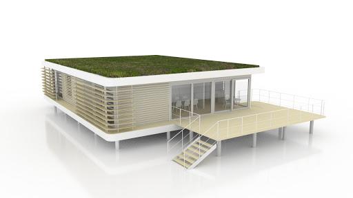 toiture végétalisée et terrasse basse