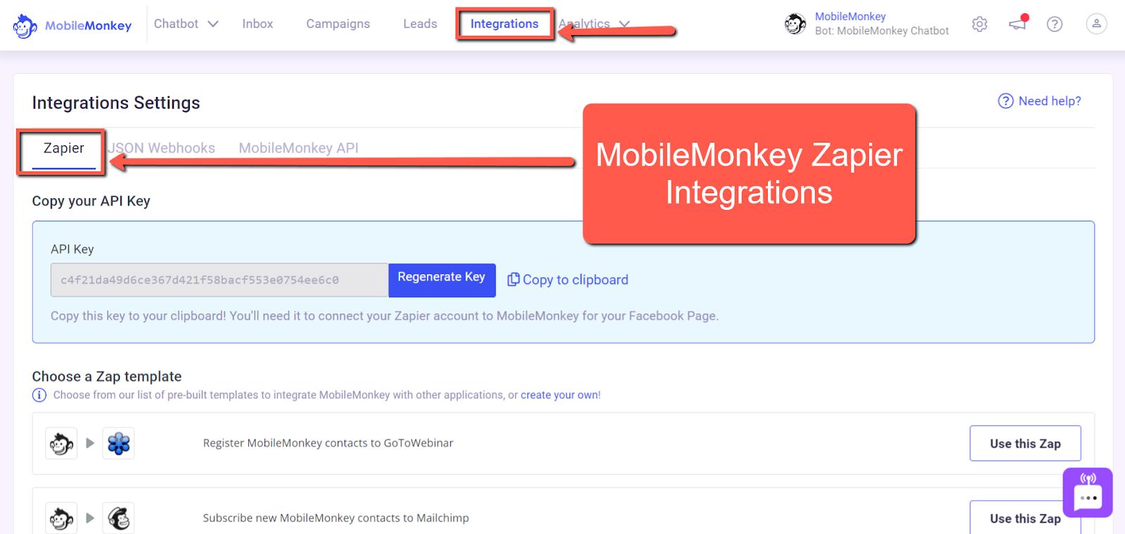 MobileMonkey Zapier integrations