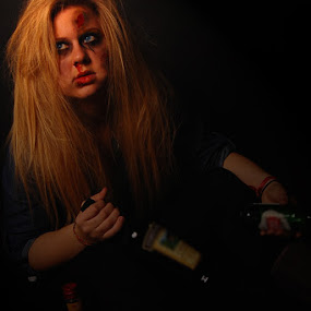Drinking and Driving  by Ellason Boyle - People Portraits of Women ( bruise, drinking, alcohol, booze, dark, driving, blood, bottles )
