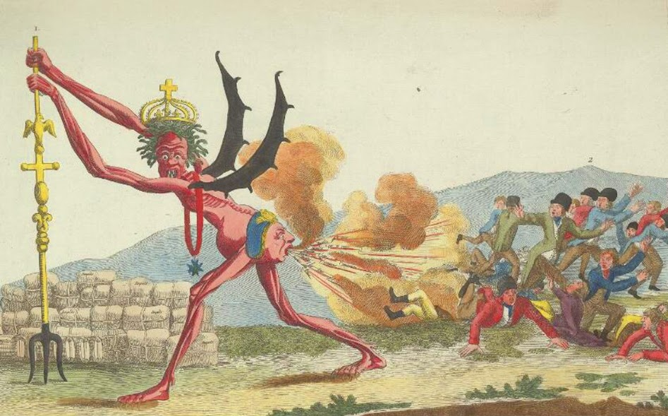 The English government, with King George behind, farting taxes upon free-born Englishmen (1794).