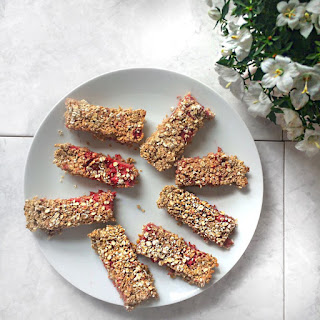 Strawberry Oat Flapjack.