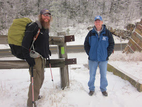 Photo: Bart and Shad at Little Shepherd Trail end/beginning of Highlands Section of Pine Mountain Trail.